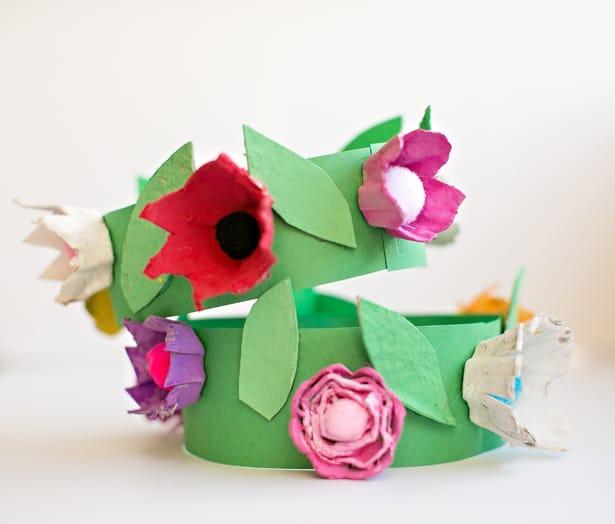 13 diy egg carton flower crown