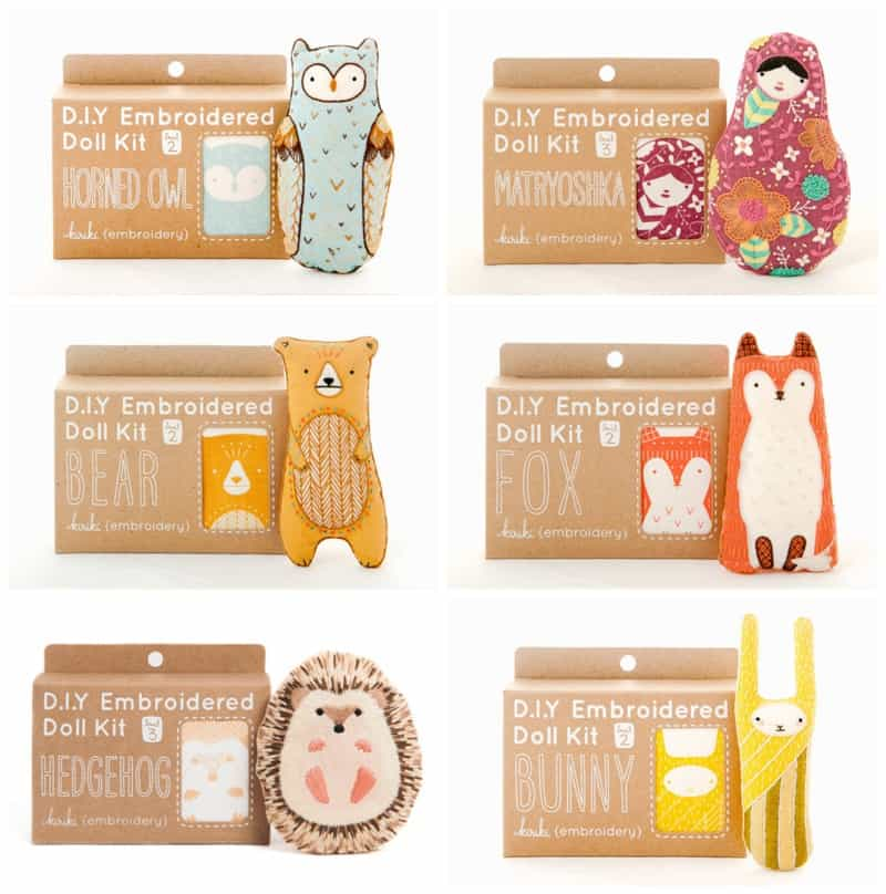 Hello wonderful cute animal diy embroidery kits from