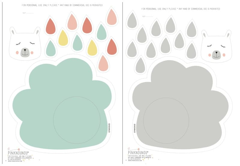 cloud template with lines - hello wonderful cute paper cloud raindrop mobile with
