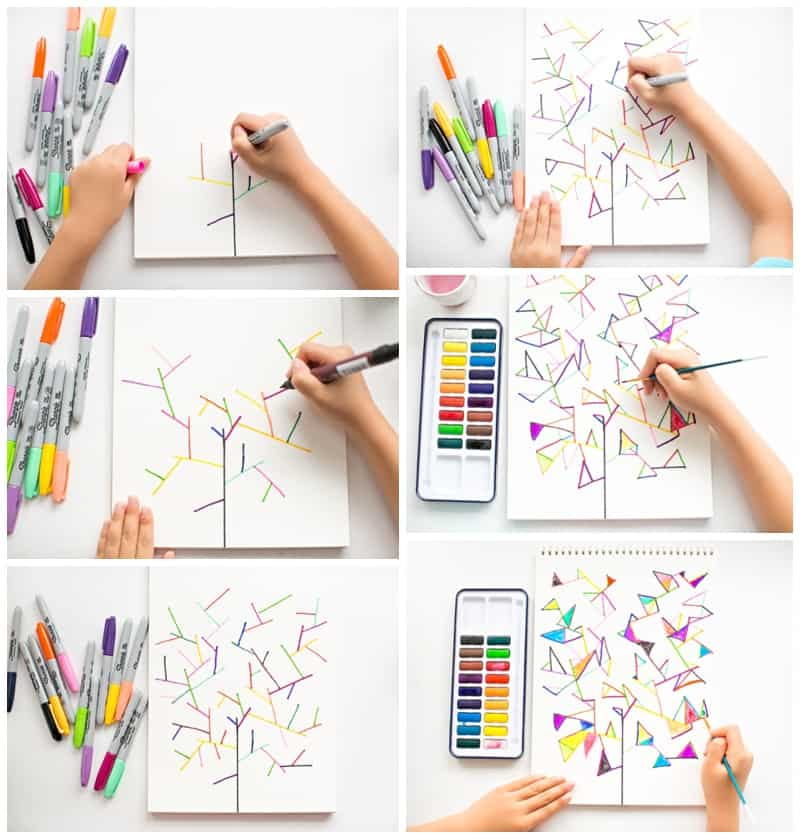 Hello wonderful easy watercolor geometry tree art for Easy watercolour projects