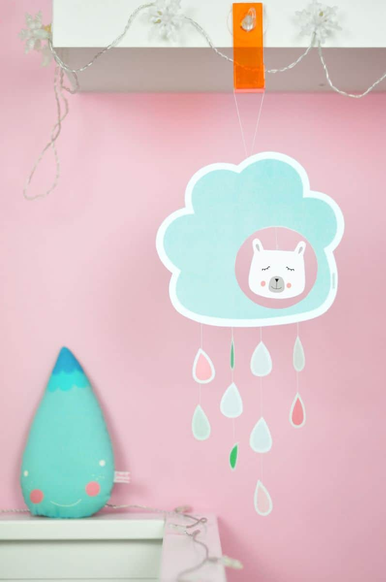 Hello wonderful cute paper cloud raindrop mobile with for Cute paper crafts