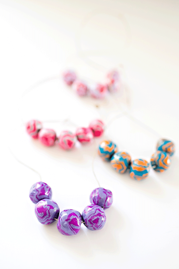 5 diy clay wooden beads