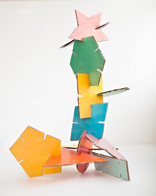 Hello Wonderful Geometric Cardboard Shape Sculptures