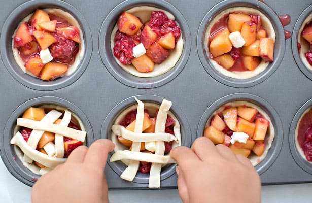 mini peach raspberry pies