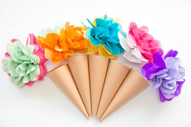 Hello wonderful make tissue paper ice cream cone flowers for Ice cream cone paper craft