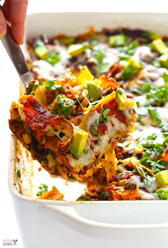 Stacked Chicken Enchiladas (via Gimme Some Oven ) This amazing looking ...