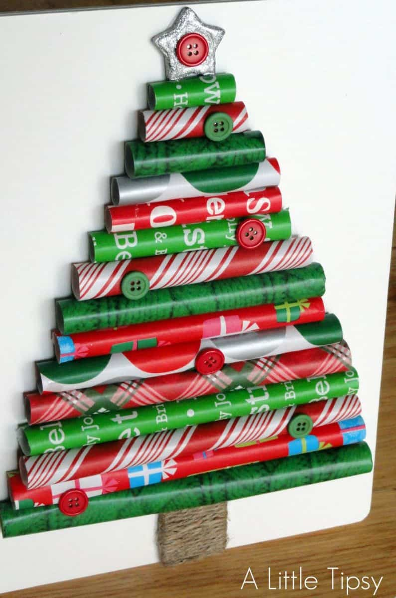 How to make a christmas decoration out of paper - Wrapping Paper Tree Via A Little Tipsy Rolls Of Wrapping Paper Create A Fun Pop Out Christmas Tree