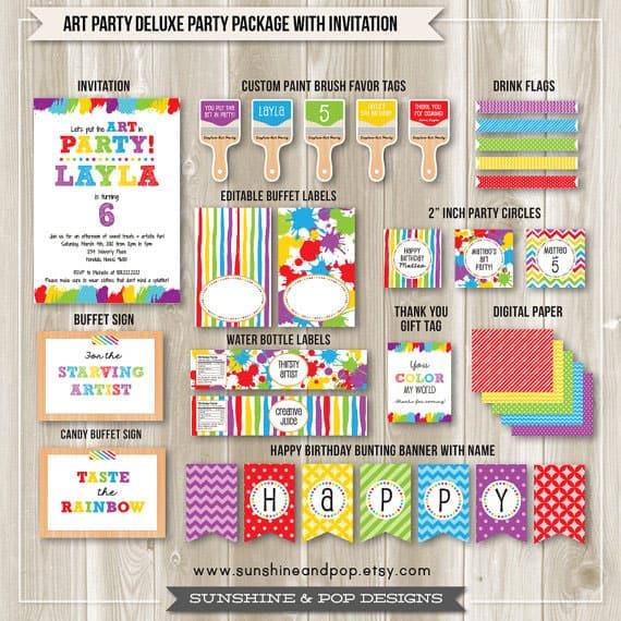 Art Party Ideas Art Party Rainbow Party