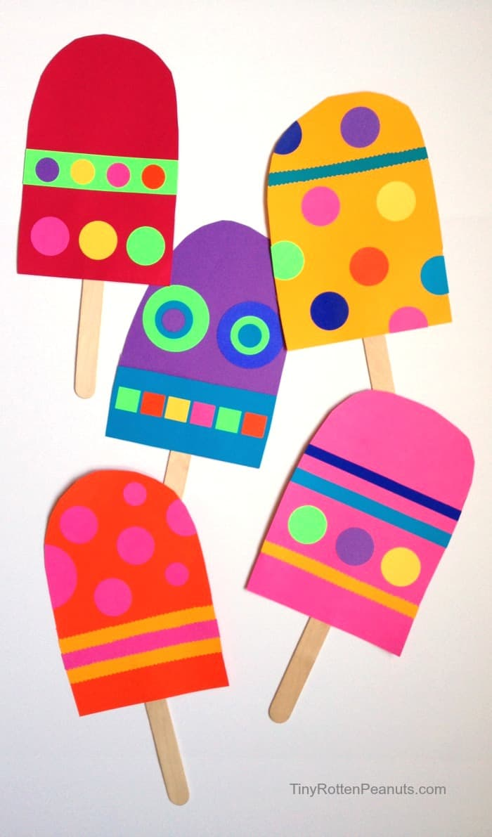 Hello wonderful 13 colorful popsicle ice cream art for Popsicle art projects