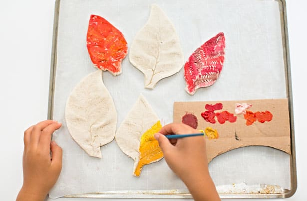 hello, Wonderful - WATERCOLOR RAINBOW SALT DOUGH LEAVES