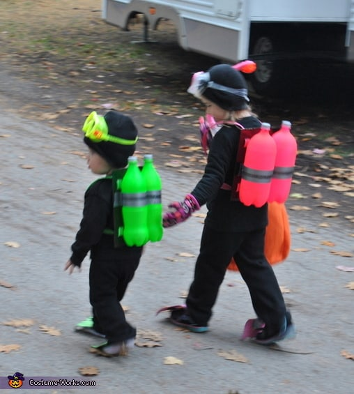 See how this clever mom turned a couple of soda bottles into a cool under the sea costume for her kids.