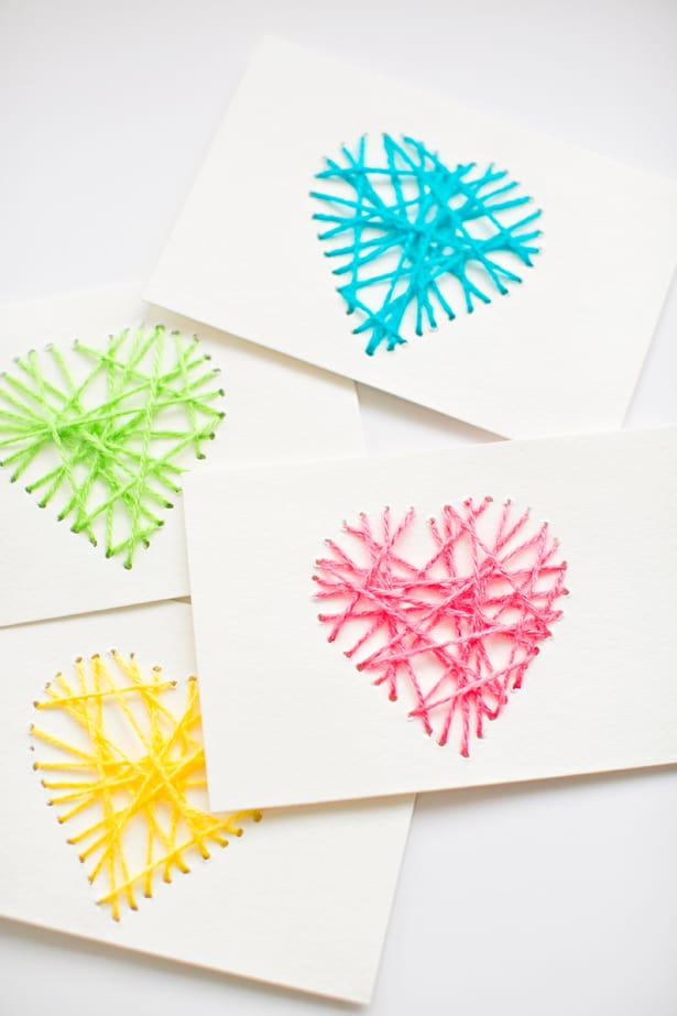 hello Wonderful MAKE STRING HEART YARN CARDS – Valentine Heart Cards